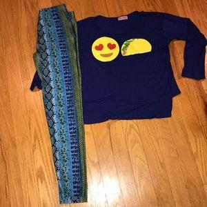 Other - Girls outfit,Dori leggings, ms popular shirt